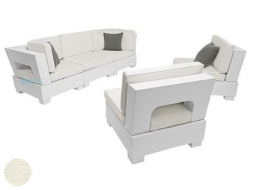 Ledge Lounger Signature Collection Sectional | 5 Piece Sofa & Chairs White Base | Oyster Standard Fabric Cushion | LL-SG-S-5PSC-SET-W-STD-4642