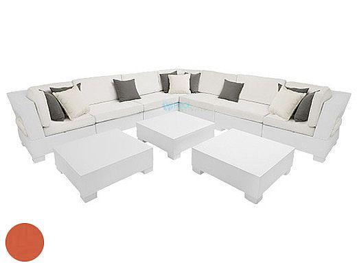 Ledge Lounger Signature Collection Sectional   10 Piece L-Shape White Base   Tuscan Premium 1 Fabric Cushion   LL-SG-S-10PLS-SET-W-P1-4677
