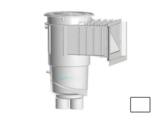 AquaStar Flow Star Water Bonded Skimmer with Water Stop Face, Float Assembly, Basket, Lid and Adjustable Collar | White | SKR15101