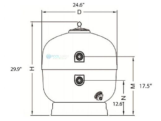 """Fluidra USA 24"""" Aster Side Mount Hight Rate Sand Filter 