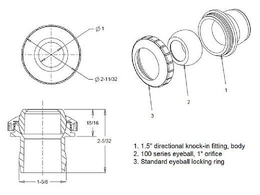 "AquaStar Three Piece Directional Eyeball Fitting   1-1/2"" Knock-In   with .5"" Orifice   Tan   4308"
