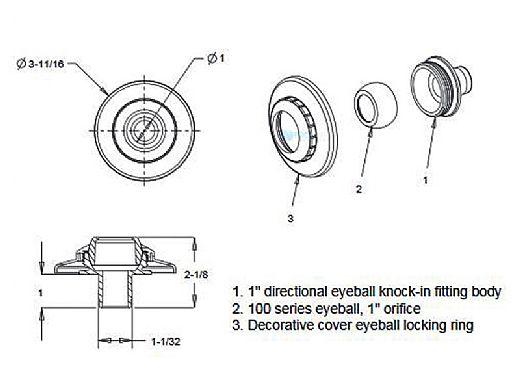 "AquaStar Three-Piece Directional Eyeball Fittings | 1"" Knock-In | with Flange .5"" Orifice | Black | 5302"