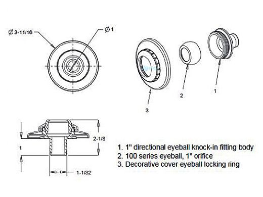 "AquaStar Three-Piece Directional Eyeball Fittings | 1"" Knock-In | with Flange .5"" Orifice | Tan | 5308"