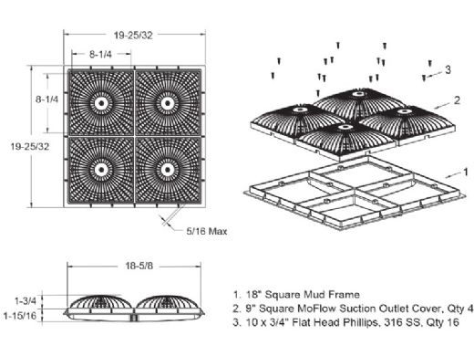 "AquaStar 18"" Square Mud Frame with Four 9"" Square MoFlow Suction Outlet Cover | for 3/4"" Deep Retrofits | Black | 18MFNF102"