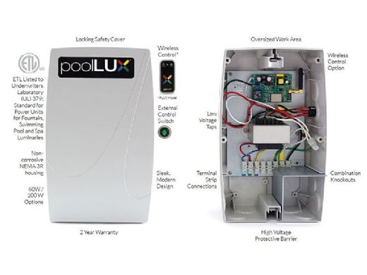 SR Smith poolLUX Plus Wireless Lighting Control System with Remote | 100 Watt 120V Transformer | Includes 2 Treo Light Kit | 2TR-pLX-PL100
