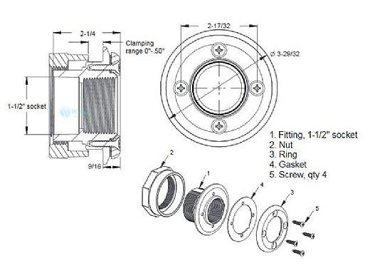 "AquaStar 4 Screw Vinyl Fitting with 1 1/2"" Socket | White | ES1408SL01"