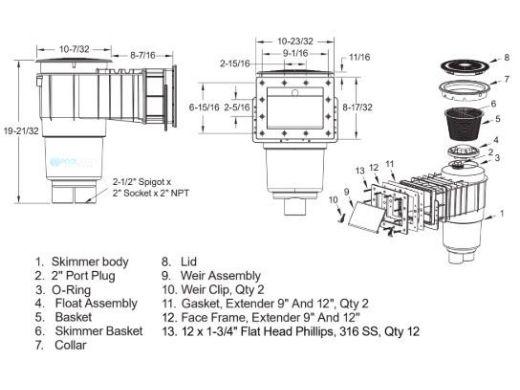 "AquaStar Flow Star Standard Skimmer with Narrow 9"" Deep Throat, Float Assembly, Basket, Lid and Adjustable Collar for Fiberglass | Dark Gray | SKRFFL3N105"