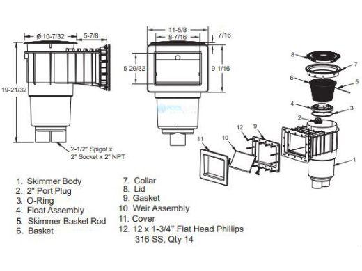 "AquaStar Flow Star Skimmer with 5"" Deep Throat, Float Assembly, Basket, Lid and Adjustable Collar for Fiberglass with 6"" Socket Sump   Light Gray   SKRFL12103F"
