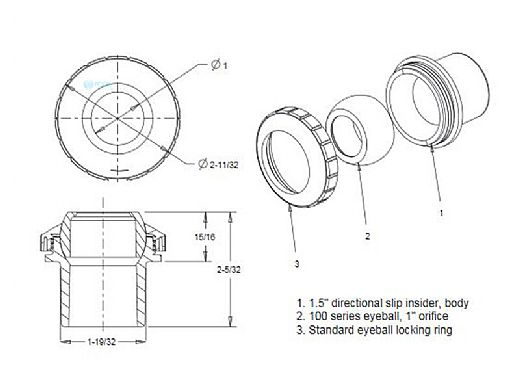 "AquaStar Directional Eyeball Fitting 3 pc 1 1/2"" Slip Insider 3/4"" Orifice | Light Gray | SL8203"