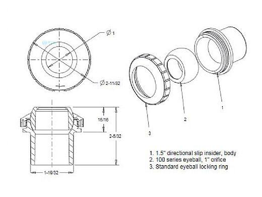 "AquaStar Directional Eyeball Fitting 3 pc 1 1/2"" Slip Insider 1/2"" Orifice   Blue   SL8304"