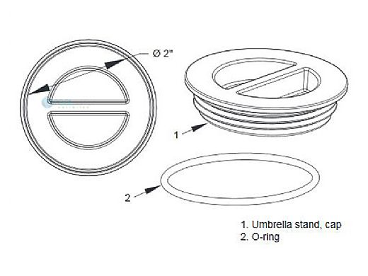 AquaStar Umbrella Stand Cap Only with Gasket Seal | Tan | USCG108