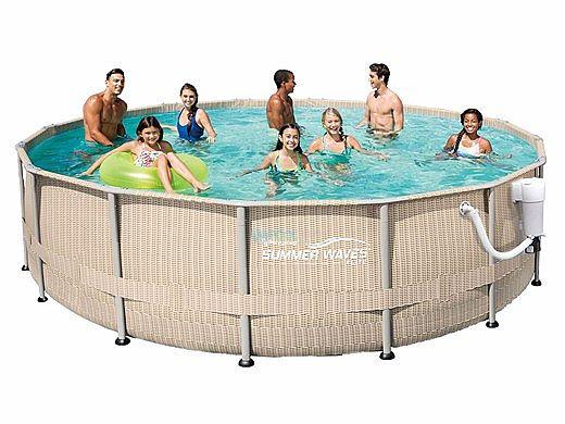 Summer Waves Elite Light Wicker Round Metal Frame Pool Package | 15 ...