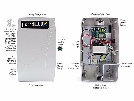 SR Smith PoolLUX Power Transformer Lighting Control System | 100 Watt 120V | Includes 2 Kelo Pool Lights | 2KE-PLX-PW100