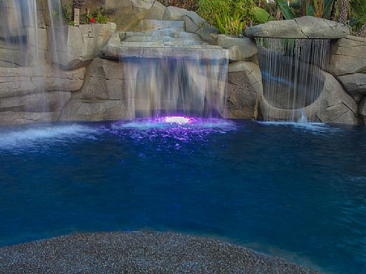 J&J Electronics ColorSplash VU Nicheless RGB-W Series LED Pool and Spa Light Fixture | 8W 12V 30' Cord | LPL-R1CW-12-30