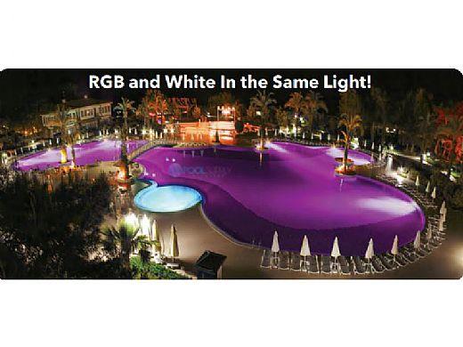 J&J Electronics ColorSplash VU Nicheless RGB-W Series LED Pool and Spa Light Fixture   20W 12V 50' Cord   LPL-R2CW-12-50