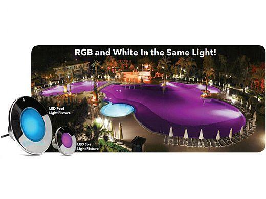 J&J Electronics ColorSplash XG-W Series RGB + White LED Pool Light Fixture   120V 50' Cord   LPL-F2CW-120-50-P