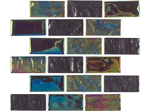National Pool Tile Equinox 1x2 Glass Tile   Multicolor   EQX-AURORA1X2