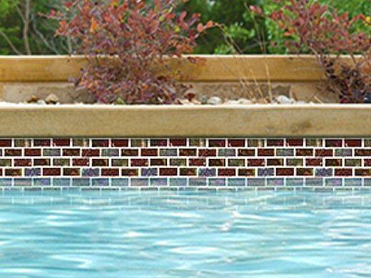 National Pool Tile Equinox 1x2 Glass Tile | Amber Rust | EQX-AUTUMN1X2
