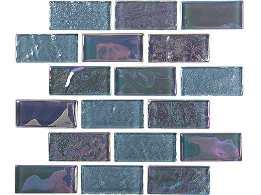 National Pool Tile Equinox 1x2 Glass Tile | Black Steel | EQX-OBSIDIAN1X2