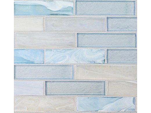 National Pool Tile Santorini Series 1x4 Glass Tile | Argent Blue | SAN-BLUE1X4
