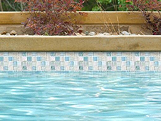 National Pool Tile Santorini Series 1x1 Glass Tile | Argent Blue | SAN-BLUE
