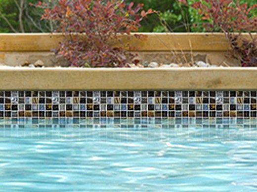 National Pool Tile Santorini Series 1x1 Glass Tile   Umbria Black   SAN-BLACK
