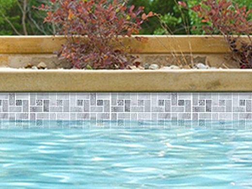 National Pool Tile Fusion Mosaic Quartz with Glass Tile   Grey Quartz   FS-PINWHEELGQ