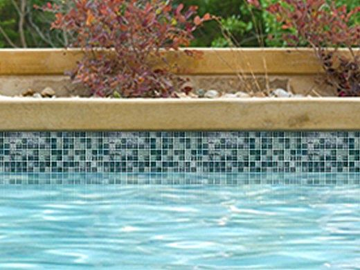 National Pool Tile Boutique Oceanside Mini Blend Glass Tile | Aquamarine | OCN-AQUAMARINE MINI