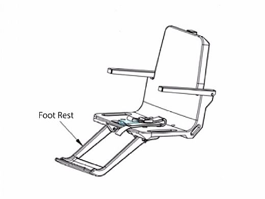 SR Smith Splash! Lift Foot Rest with Hardware | Gray | 160-2300A