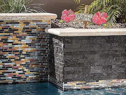 National Pool Tile Natural LedgerStone 6x24 | Black Quartz | 130115