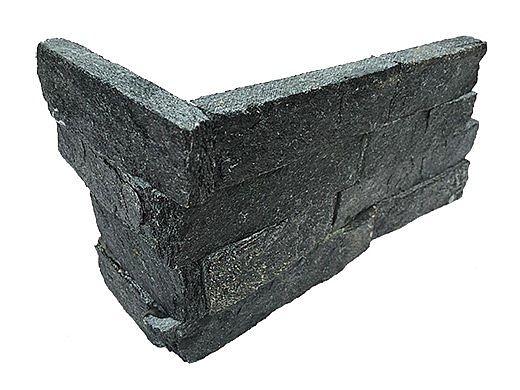 National Pool Tile Natural Ledgerstone 6x16 Corner | Black Quartz | 130120