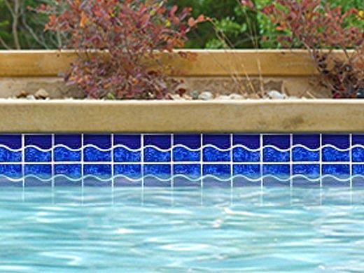 National Pool Tile Tropics Series Wave Cobalt Tro