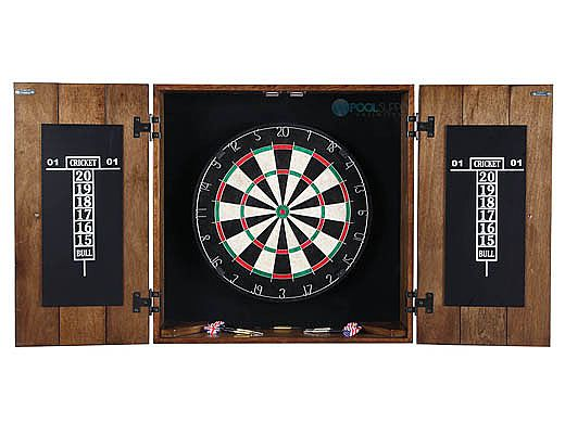 Hathaway Drifter Solid Wood Dartboard and Cabinet Set | Rustic Oak | NG1046-RUO BG1046-RUO