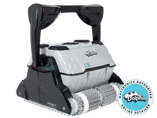Maytronics Dolphin C5 Commercial Class Inground Robotic Pool Cleaner with Remote & Caddy | 9999396X-C5