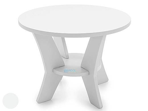 Ledge Lounger Mainstay Collection Round Outdoor Side Table | White | LL-MS-ST-RD-WH