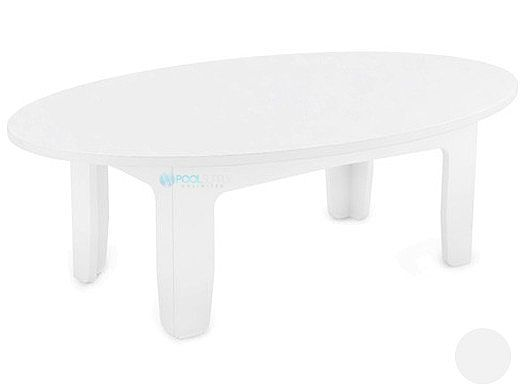 Ledge Lounger Mainstay Collection Outdoor Oval Coffee Table | White | LL-MS-CT-OV-WH
