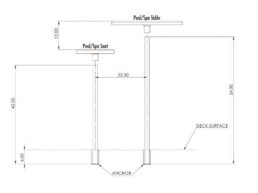 "SR Smith Destination Series 16"" Sun Shelf Table | Vinyl Liner Anchor Included | Fashion Gray | VL-16 TABLE-56-C"
