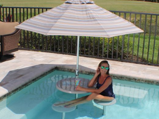 """SR Smith Destination Series 16"""" In-Pool Seat   Vinyl Liner Anchor Included   Fashion Gray   VL-POOLSEAT-56-C"""