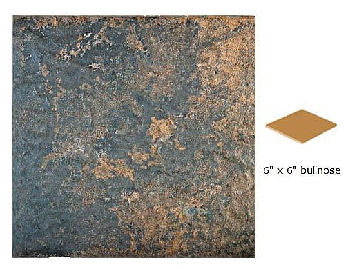National Pool Tile Aztec 6x6 Single Bullnose Pool Tile   Ash Nero   AZ608 6X6 SBN