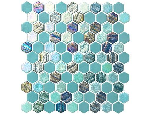 National Pool Tile Starburst Mosaic Glass Tile | Teal | STA-TEAL