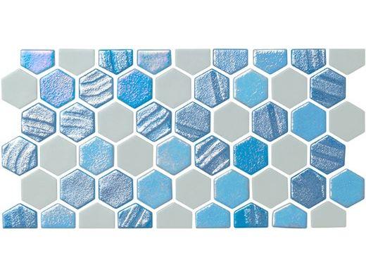 National Pool Tile Starburst Border Glass Tile | Arctic Blue | STA-ARCTIC BDR