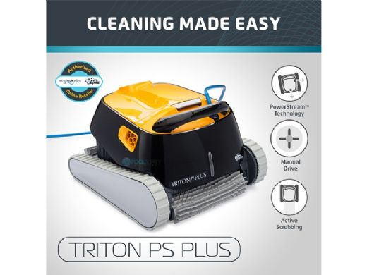 Maytronics Dolphin Triton PS Plus WiFi Connected Robotic Pool Cleaner with Caddy | 99996212-USWI-CADDY