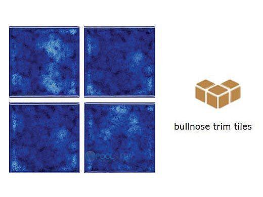 National Pool Tile Akron Field Down Angle Trim | Royal Blue | KAK305 DA