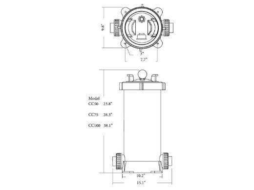 Waterco Trimline CC50 Cartridge Filter | 50 Sq. Ft. 19 GPM | 21450NA