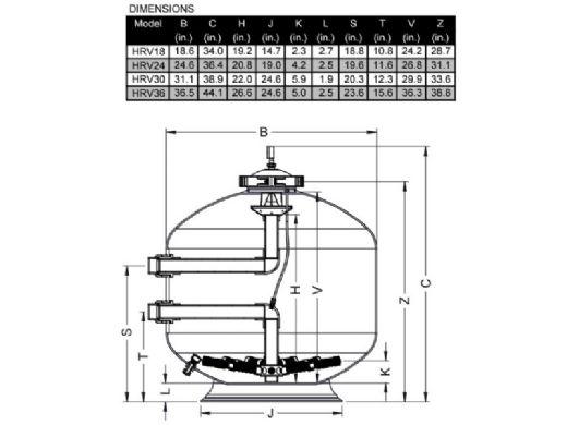 "Waterco HRV 18"" Side Mount Fiberglass Sand Filter | 2.2 Sq. Ft. 43 GPM | 22207188"