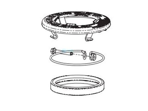Pentair Intellibrite Face Ring Assembly Stainless Steel Uni-tension wire clamp assembly and Gasket, 4 in diameter, off white | 640045