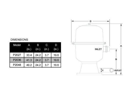 Waterco Fulflo P2036 D.E. Cartridge Filter | 36 Sq. Ft. 95 GPM | 230036NA