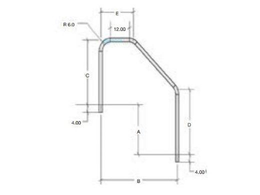 "S.R. Smith 6.5"" Handrail 3-Bend ADA Stainless Steel .065""   3HR-6.5 ADA"