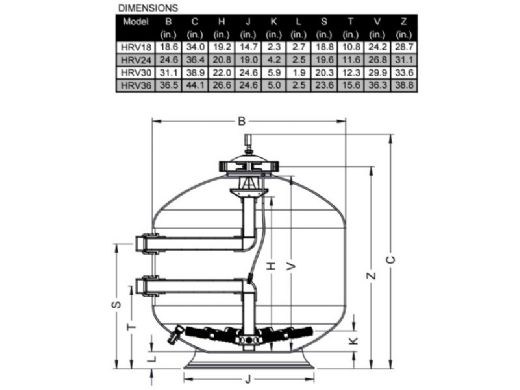 """Waterco HRV 36"""" High Pressure Side Mount Fiberglass Sand Filter with Multiport Valve 
