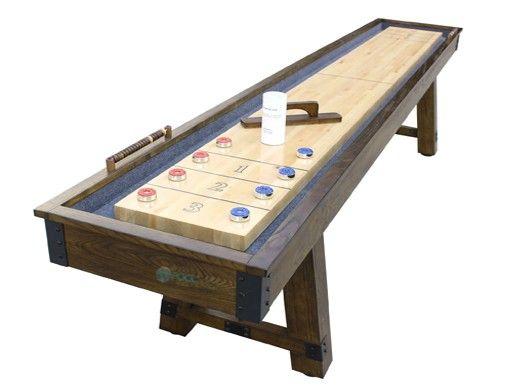 Hathaway Cheyenne 12-Foot Shuffleboard Table | Rustic Oak Finish | BG50354